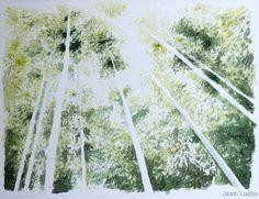 Painting of the Arashiyama Bamboo Grove in Kyoto