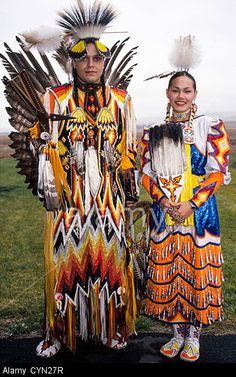 A Native American Indian couple shows off their ceremonial dress on the Umatilla Indian Reservation near Pendleton, Oregon, USA.