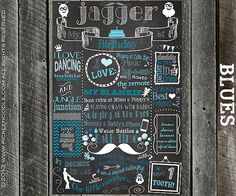 1st Birthday Chalkboard Blue Poster Sign Printable /DIGITAL / baby's 1st / Baby BOY First Birthday Color / Plus FREE Web File on Etsy, $34.00