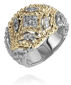 14k Gold & Sterling Silver ring with 0.16 diamond #VahanPinterst