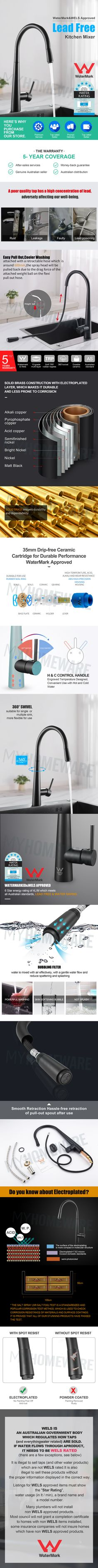 Watermark WELS Pull Out Kitchen Tap Mixer Brass Black Plated Laundry Tap Black Kitchen Taps, Black Granite Sink, Granite Kitchen Sinks, Kitchen Mixer Taps, Sink Mixer Taps, Fancy Kitchens, Black Kitchens, Laminate Benchtop, Butler Sink