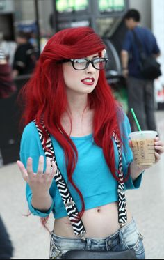 traci hines with her hipster ariel look. she does Disney princess YouTube videos, doing covers of classic Disney songs. she's really good!