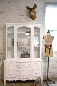 Painted Cottage Chic Shabby White Romantic French China Cabinet [CC588] - $595.00 : The Painted Cottage, Vintage Painted Furniture