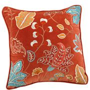 Better Homes and Gardens Embroidered Cotton Decorative Pillow, Leaf Garden