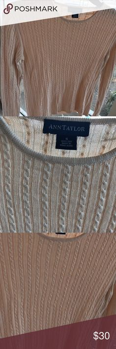 Ann Taylor Sweater Ann Taylor long sleeve sweater  scoop neck   vey lightweight   size small   worn once color blush \ nude Sweaters Crew & Scoop Necks