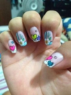 53 Ideas and Photos of Elegant, Easy and Simple Decorated Nails that are Trend 2018 Step by Step Designs! uñas decoradas con corazones y flores Nail Polish Designs, Nail Art Designs, Love Nails, Pretty Nails, Nails For Kids, Manicure E Pedicure, Nail Envy, Heart Nails, Nail Designs Spring