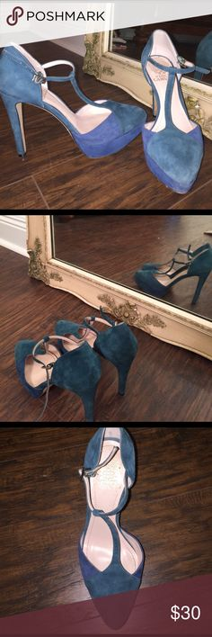 Vince Camuto Teal T Strap Pumps Teal and blue suede, t strap pumps from vince camuto purchased in 2016. Leather sole. Very lightly worn. Vince Camuto Shoes Heels