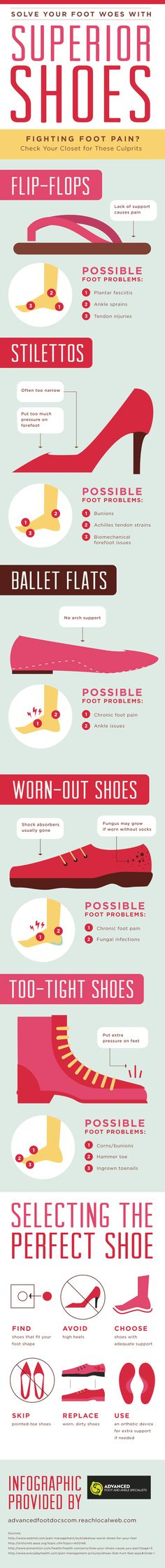 Solve Your Foot Woes with Superior Shoes #infographic