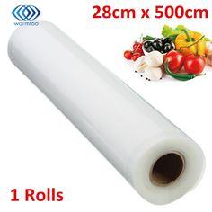 1ピースキッチン真空食品シーラーロールスロイス28センチ× 500センチpe食品グレード膜肉野菜果物を保つ新鮮な真空袋ラッパー