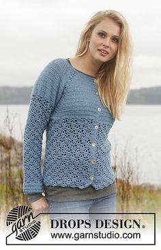 Ravelry: 149-19 Forget-Me-Not - Jacket with raglan and lace pattern worked top down in BabyAlpaca Silk pattern by DROPS design