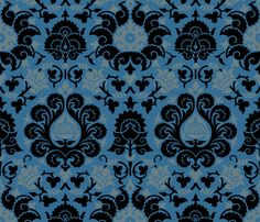 Damask 4h - muhlenkott on Spoonflower. Fabric @ $17.50/yd. Also sold as wallpaper and wrapping paper.