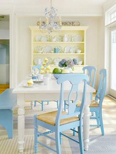 Colorfully Painted Thrift Finds Add Personality to this Lovely Cottage Dining Room
