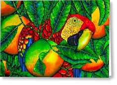 Macaw And Oranges - Exotic Bird Greeting Card by Daniel Jean-Baptiste
