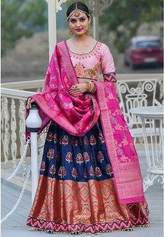 Indigo Blue Banarasi Silk Lehenga Choli