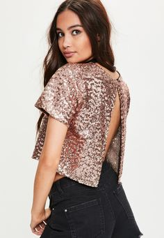 Rose Gold Open Back Sequin Top - Missguided
