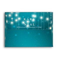 String Lights & Turquoise Glitter Sparkle Envelope Elegant Vintage String Lights with Turquoise Blue Glitter Sparkle Background Wedding Envelope. 5x7 Envelopes, Custom Printed Envelopes, Addressing Envelopes, Vintage String Lights, Sparkles Background, 10 Envelope, Sparkle Wedding, Light Turquoise, Blue Glitter
