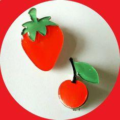 Mini Strawberry & Cherry Brooch, Vintage Inspired, Novelty, Rockabilly…