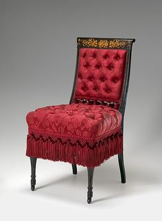 """George A. Schastey & Co. (1873–97). Side chair from the bedroom of the Worsham-Rockefeller House, 1881-2. The Metropolitan Museum of Art, New York. Virginia Museum of Fine Arts, Gift of the Museum of the City of New York 