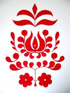 A Drawing A Day - Day 32 - 2/1/15 - red folk art motif - gouache