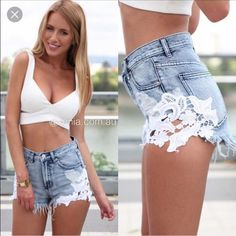 Crochet Jean Shorts Beautiful, brand new with tag, couldnt return bc shipping cost, from xenia boutique in au, shipping 20$ from there Brandy Melville Shorts Jean Shorts
