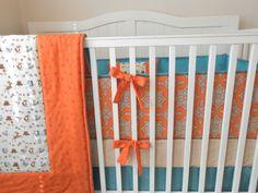 Crib Bedding Set Orange Aqua Fox by butterbeansboutique on Etsy, $415.00