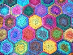 Noro Hexagon crochet blanket ooooh isn't this lovely! We stock NORO at the PATCHWORK ANGEL!