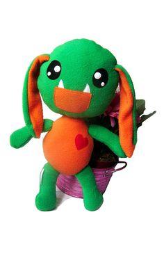 Big Fluse Kawaii Plush Monster GrünOrange von Fluse123 auf Etsy, €28.00