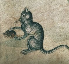 Cat playing with a mouse | detail from an illustration in the Luttrell Psalter, ca.1340