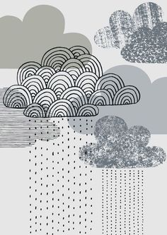 Looks Like Rain, limited edition giclee print by Eloise Renouf on Etsy. Cloud Illustration, Magazine Illustration, Rain Clouds, Blue Clouds, White Clouds, Cloudy Day, Art Plastique, Illustrations, Giclee Print