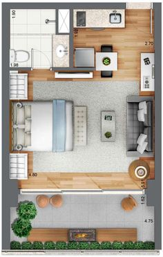 Houses and flats Yuny Incorporadora - Habitarte 1 Tips On Using A Warm Mist Humidifier Studio Apartment Floor Plans, Studio Apartment Layout, Studio Apartment Decorating, Apartment Plans, Apartment Design, Container Home Designs, Layouts Casa, House Layouts, Hotel Room Design