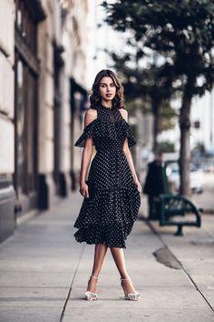 Open shoulder black chiffon polka dot dress