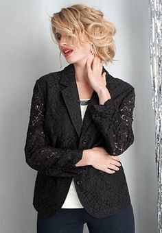 Jessica London Plus Size Blazer in Lace Lace Blazer, Blazer Jacket, Blazer Suit, Plus Size Work, Plus Size Men, Big And Tall Outfits, Plus Size Outfits, Plus Size Blazer, Mens Big And Tall