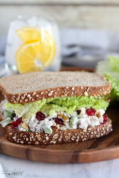 Cranberry Walnut Chicken Salad - Easy chicken salad filled with chicken, dried cranberries, walnuts, apples, celery, dill, and parsley.