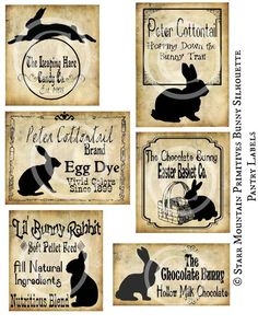 Book Labels, Pantry Labels, Bottle Labels, Boo Boo Bunny, Rabbit Silhouette, Chocolate Rabbit, Nature Crafts, Vintage Easter, Hang Tags