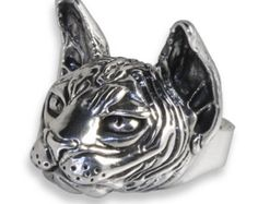 Silver ring with Sphynx Cat, Hand Carved 100% Made in Italy