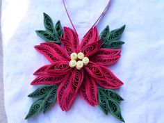 Christmas tree ornament Red Green Holidays decoration Paper flower Quilling Paper art