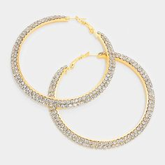 Gorgeous Crystal Hoop Earrings on Gold.  L&M Bling also has AB on Gold, Crystal on Silver and AB on Silver. Great size at 2.75""