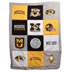 Warm up with this Missouri Tigers blanket. Twin size blanket/quilt can be used for your Missouri Tigers themed bedroom.