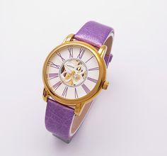 purple leather wrist watch for women WESTCHI BRAND DESGN