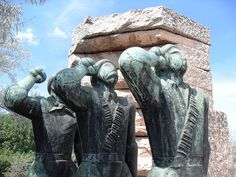 The Hungarian Fighters in the Spanish International Brigades Memorial. It is a monument commemorating the hungarian contingent of the International Brigade in the spanish Civil War 1936-1939. In the Memento Park.