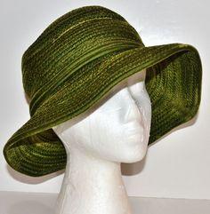 1970s Frank Olive ~ Deep Green Velvet Wide Brim Hat from blackwidowvintiques on Ruby Lane
