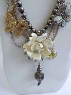 """Vintage Jewelry Assemblage, titled, """"BUTTERFLY GARDEN"""", a new expression of recombined vintage jewelry pieces"""