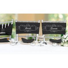 Zwarte strech stoel sjerpen met witte opdruk Bride en Groom