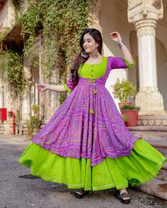 Pink and Green Bandhani Flared Dress/Anarkali buy for contact on whatapp fabric bandaj + reyon Bandhani Dress, Kalamkari Dresses, Lehnga Dress, Saree Gown, Designs For Dresses, Dress Neck Designs, Blouse Designs, Chudidhar Designs, Frock Fashion