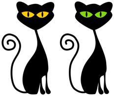 retro cats -- green and gold eyes!