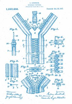 "zipper patent. ""Separable fastener, 1917"" - US1243458"