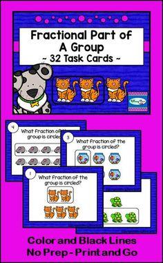 Fractional Part of a Group Task Card Set - Pet Shop Theme ($)