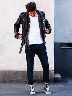 black jeans white shirt jacket leather sneakers men style tumblr fashion streetstyle