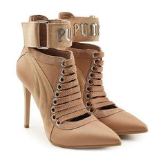 FENTY Puma by Rihanna Lace Up Stiletto Boots (€475) ❤ liked on Polyvore featuring shoes, boots, heels, sport boots, beige lace up boots, puma boots, lace up heeled boots and pointy boots