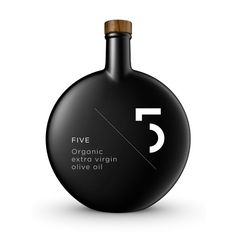 "5.Five. Organic Olive Oil in black mat finish bottle. By Greek design agency ""Designers United""."
